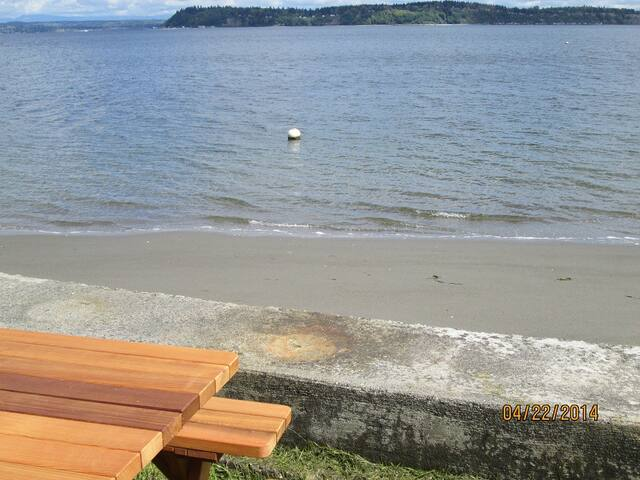 Picnic table and tide out view