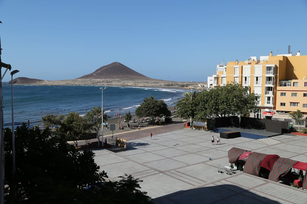 The view from the balcony - the beach and the town square