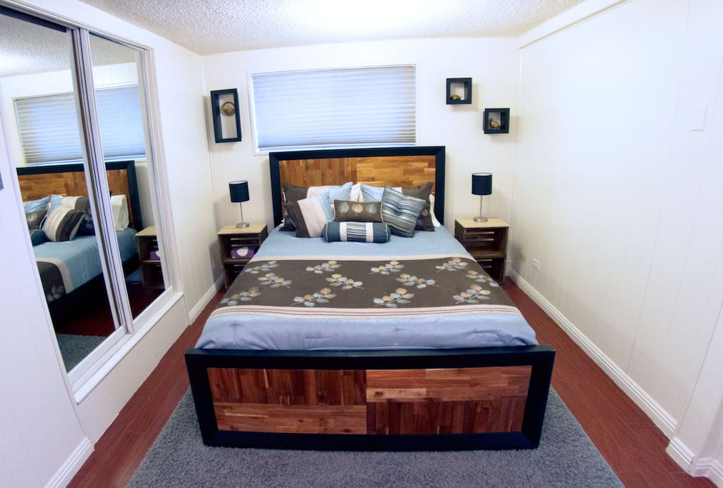 "Queen bed in ""bedroom"" area"