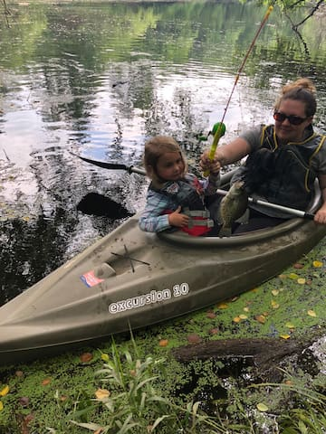 Two kayaks are available for use - be sure to bring bait & life jackets!  The bluegills, catfish and perch are plentiful!