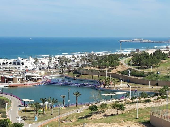 Ashdod Marina vue mer(5 mn pieds dans l'eau)