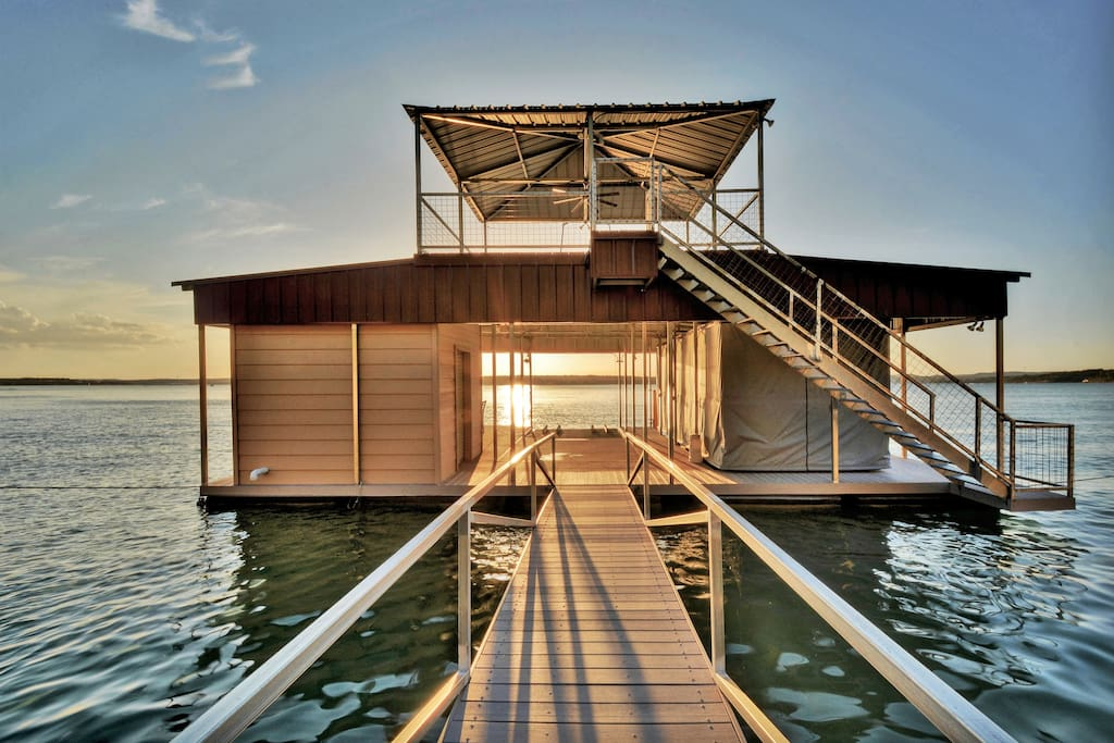 Take the hillside elevator from the house down to your elaborate private boat dock