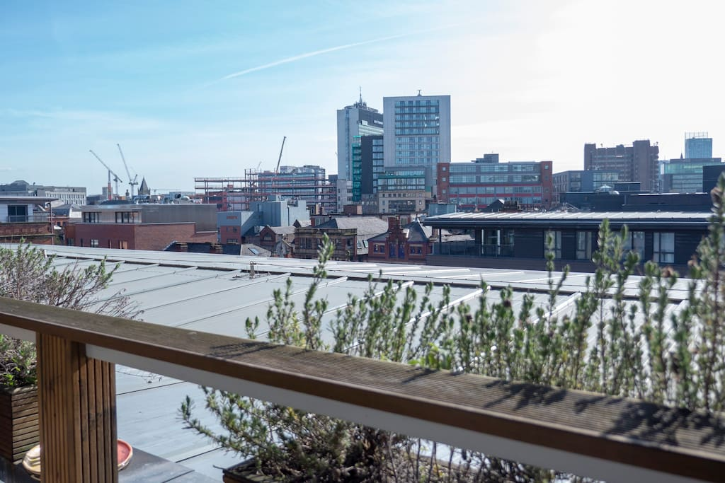 Balcony / deck with amazing views over Northern Quarter and the rest of the city