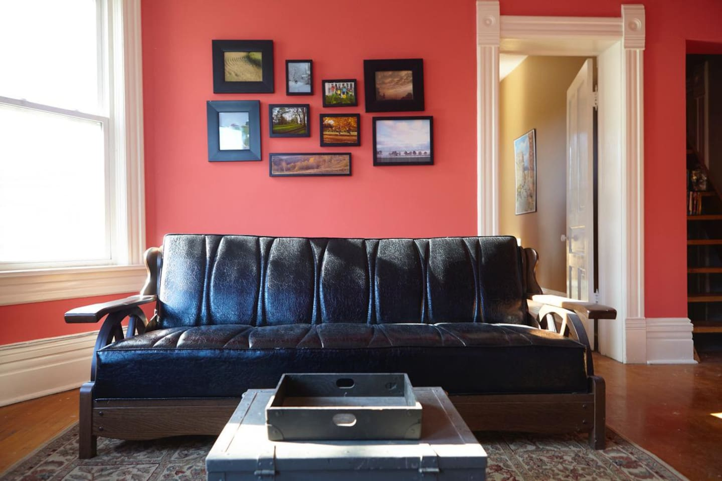 Kick up your heels on our retro couch or use as pull out for extra guests
