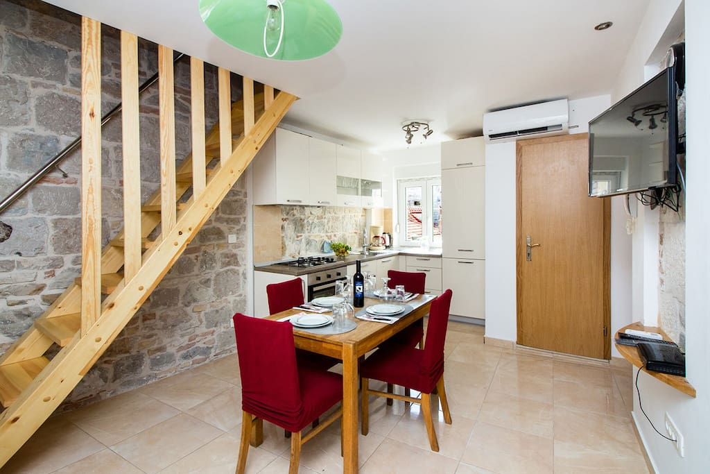 Upstairs, there is a one more room with 2 single beds which can be put together to make one large bed.