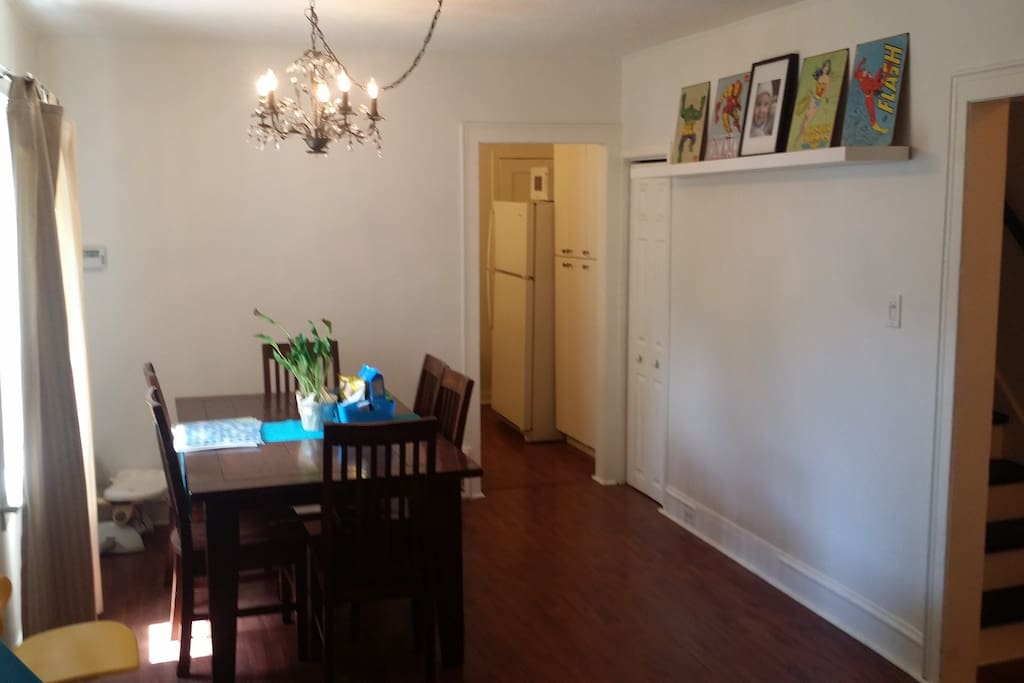 Dining room area that seats six. Comes with a high chair.