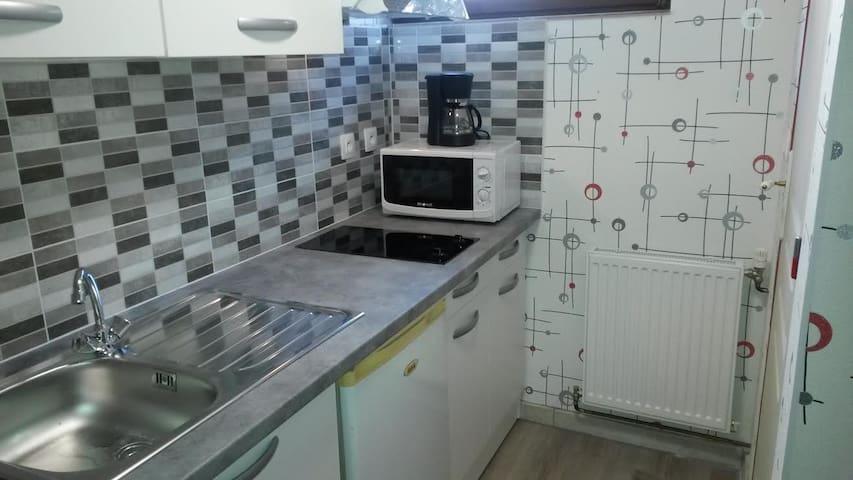 chambre spacieuse/salle de bain/belle kitchenette