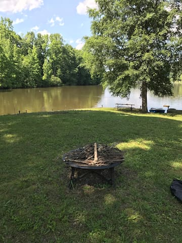 Fire pit above the lake launch (there is plenty of room right by the lake for the fire pit as well).