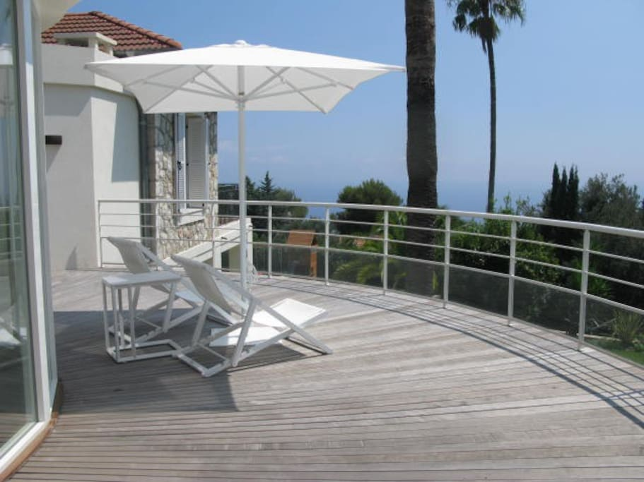 First floor terrace wiew overlooking the Med and Monaco.