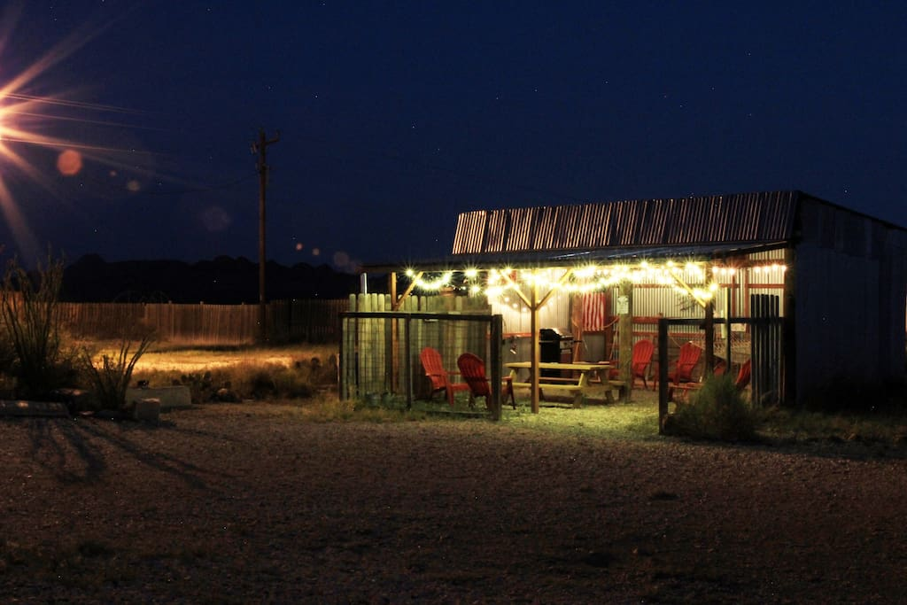 The barn/outdoor dining/hammock/grill area at night!  (Photo by Anna C).