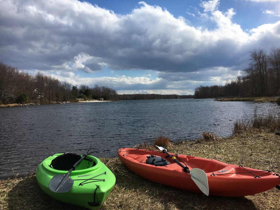 kayaks for use; launch them off your private dock