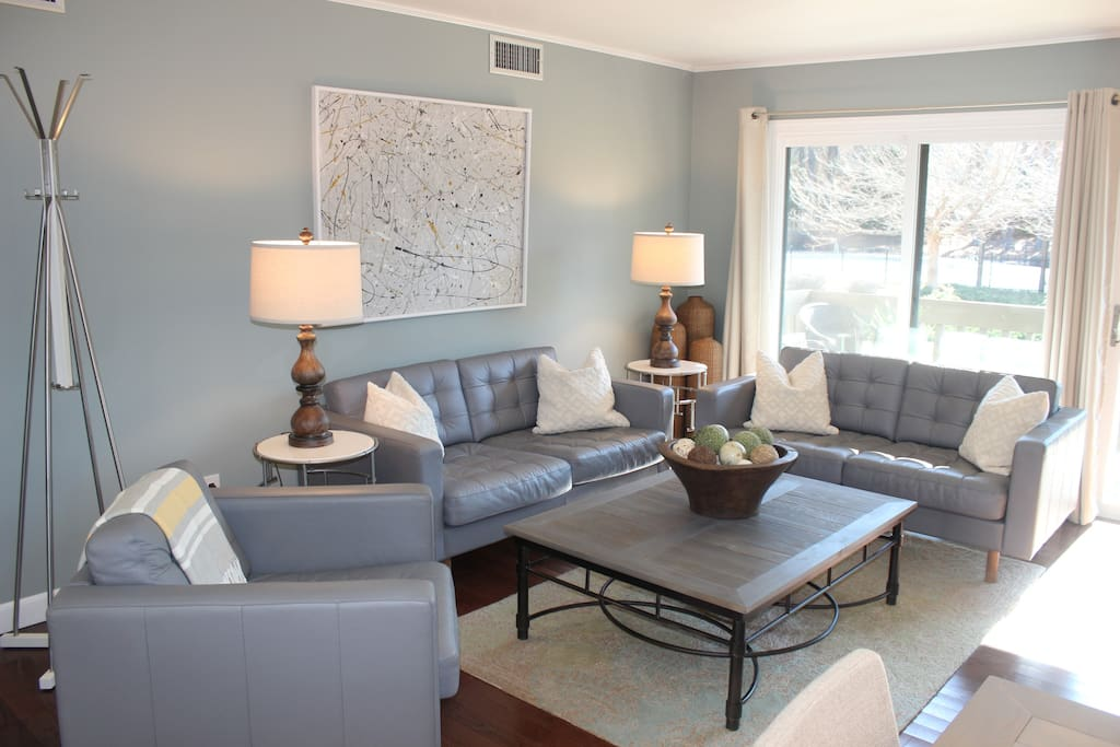 Living room. Gray leather furniture.
