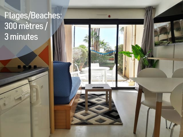 ⭐ Studio with separate bedroom, terrasse, seafront