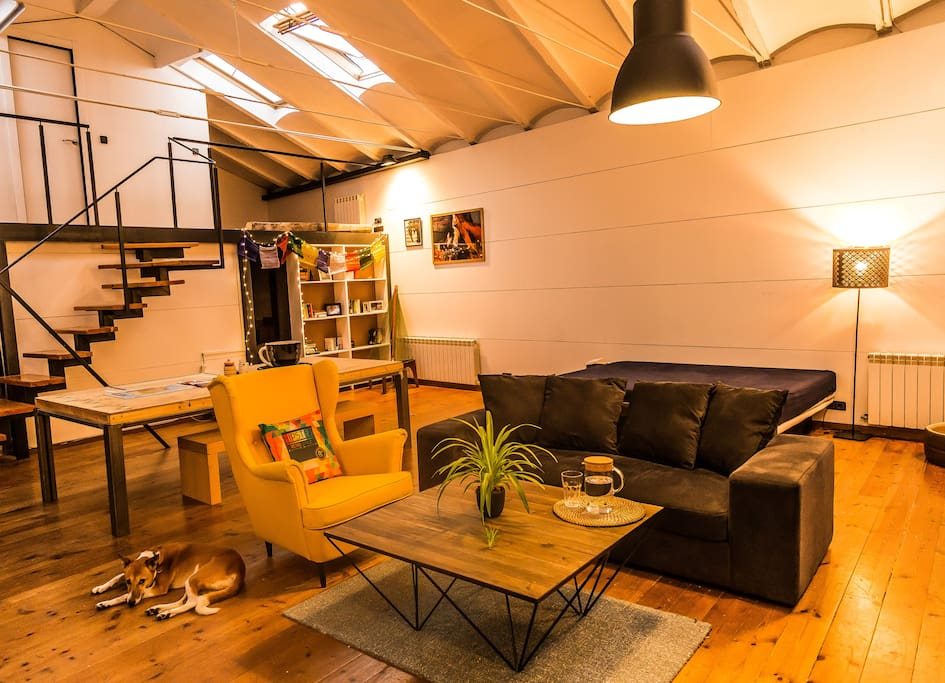 Main living room/space equipped with a double bed, sofa, chairs, huge table and TV.