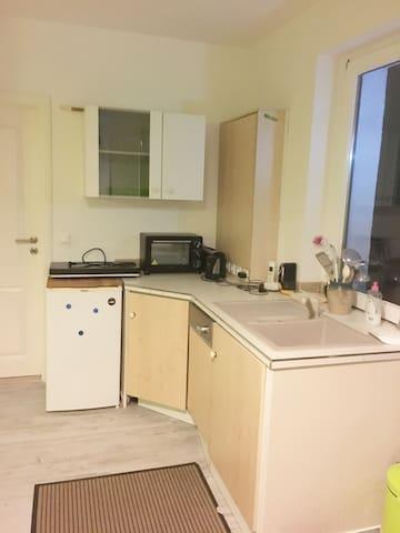 Küchenzeile mit Mini Backofen, 2 Induktionsplatten,Toaster, Geschirrspüler, Kaffeemaschine, Wasserkocher uvm.