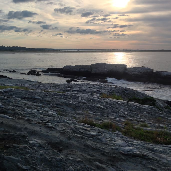 Sunrise view from bluff of Sahuest Beach and Sachuest Point wildlife refuge
