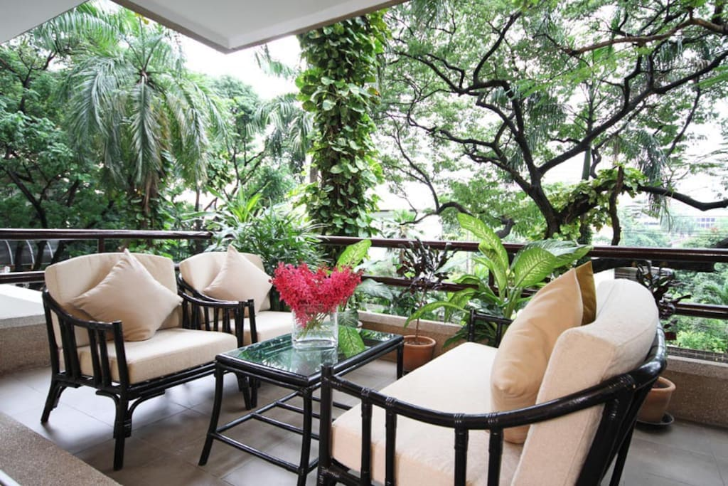 Private Balcony overlooking property's gardens