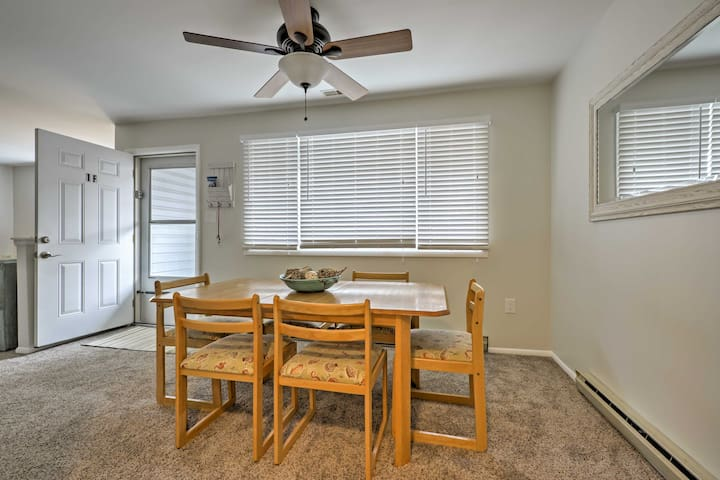 The dining area sits adjacent to the living room.