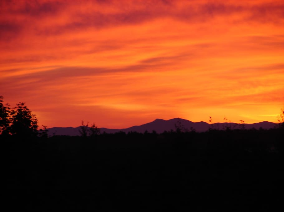 Our sunrise over Mt Mansfield, the tallest peak in Vermont.