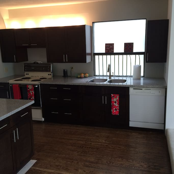 newly renovated kitchen with dishwasher.