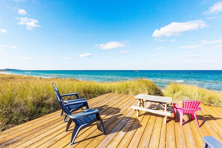 Waterfront Onekama Cottage w/Private Deck & Views!