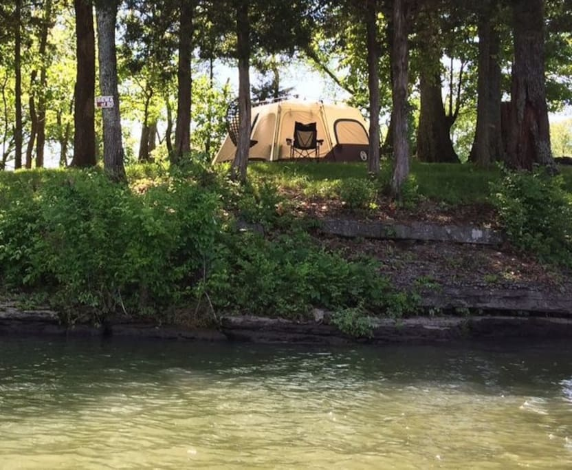 View of the tent from the water