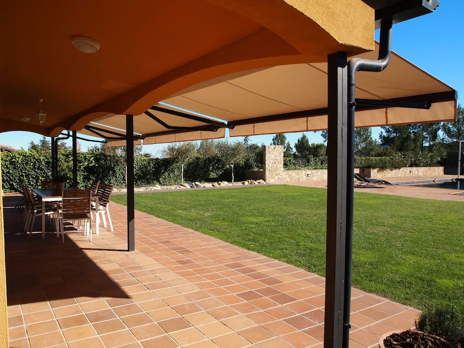 BBQ and outdoor dining area.