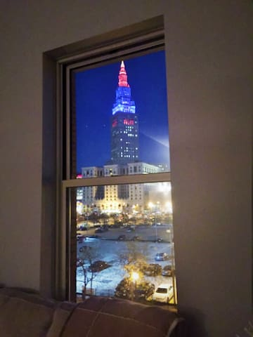Terminal tower at night is quite a sight.