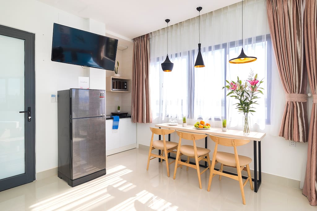 Little corner design but also fully equipped for your convenience. AC, Fridge, TV, kitchenette, microwave, etc are provided.