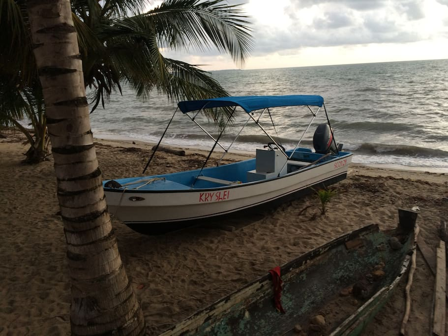 Smaller of our two boats for fishing and snorkeling the Caribbean Sea. Sunset river cruises also available.