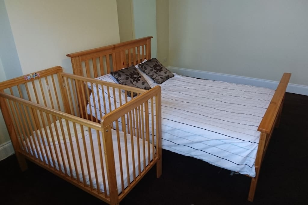 Large double room, with John Lewis cot if travelling with babies