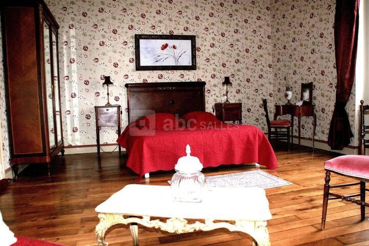 Vaste chambre avec lit Queen Size (160x200), ambiance charme aux notes bordeaux et prunes. Très lumineuse (double exposition). Calme. vue piscine et forêt.