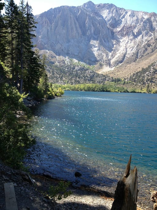 The beautiful lakes basin can be reached by car, bus, hiking or biking. It is 2.5 miles away.