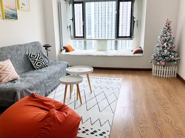 【橙子Room7 】,北欧温馨loft,紧邻哈尔滨西站,西客站.哈西万达商圈,西城红场,宜家商场。