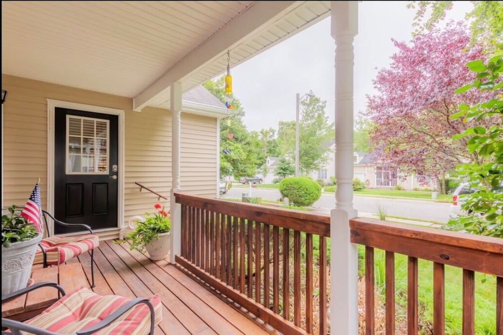 Private front porch for guests