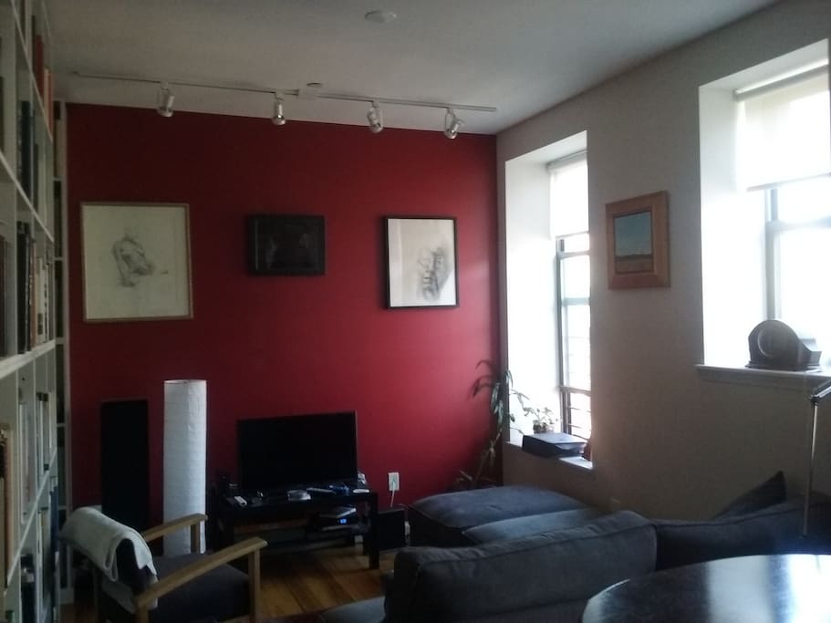 Living room includes cable TV, cozy sofa and plenty of Art and Architecture books!