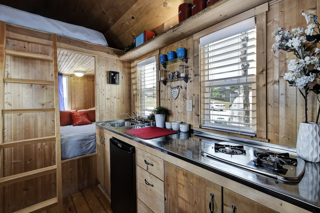Ruby includes a small kitchen area and fridge for your use!