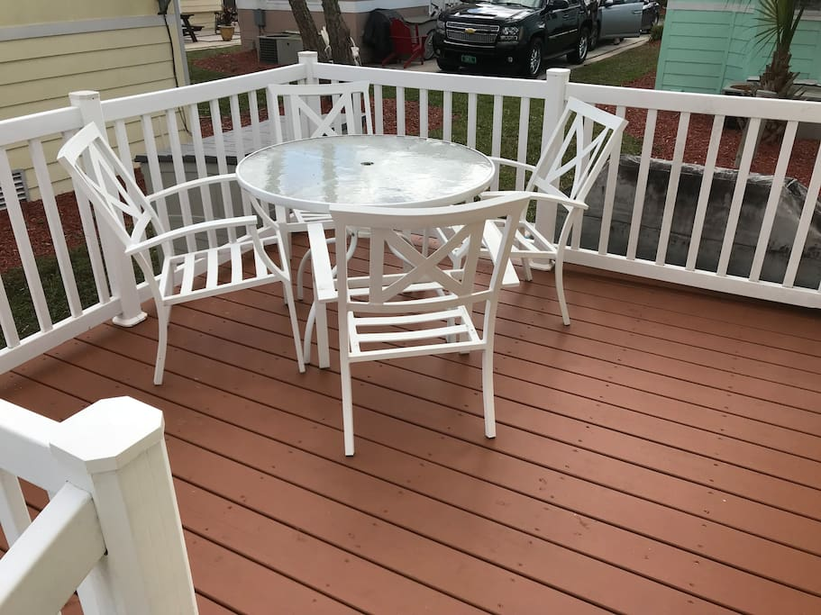 A spacious deck -- a great place for a meal