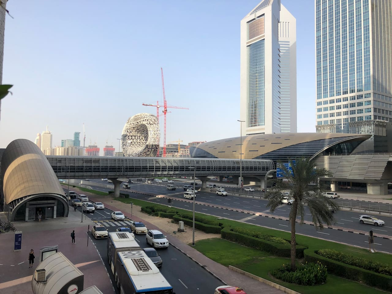 View from the balcony :  Emirates Tower Museum of the Future  Dubai Frame  North Dubai