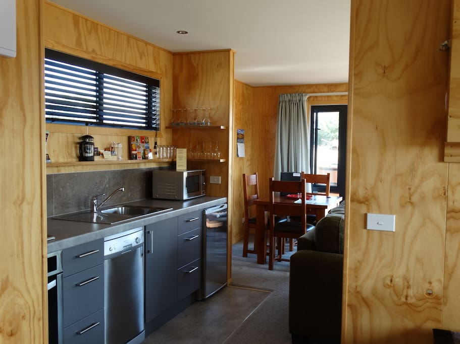 Stainless steel appliances & dining area