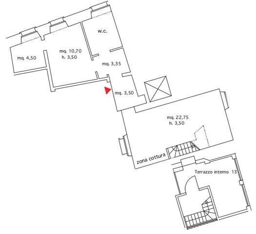 Appartamento 13 Porto Antico Suite Genova - Planimetria appartamento 13