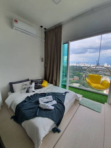 Bedroom 2: With Amazing KL View with our Signature Bubble Chair Balcony