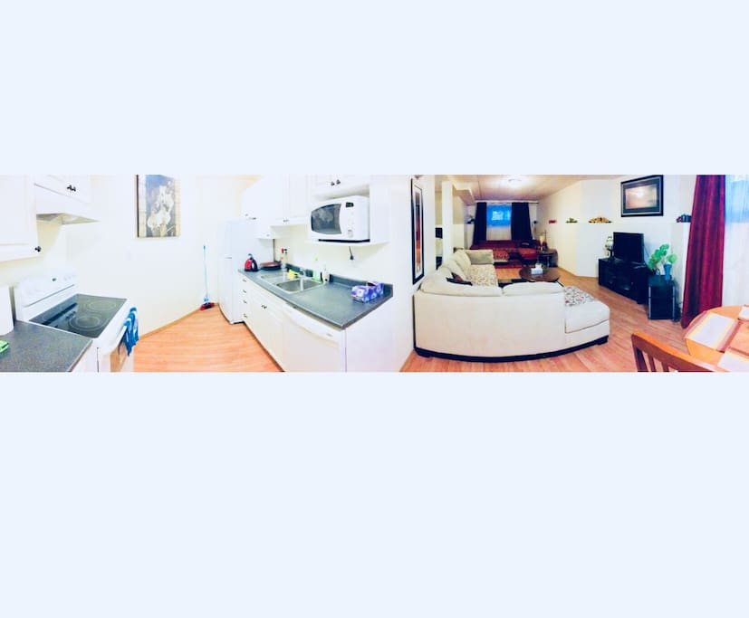 Kitchen and living room panoramic view