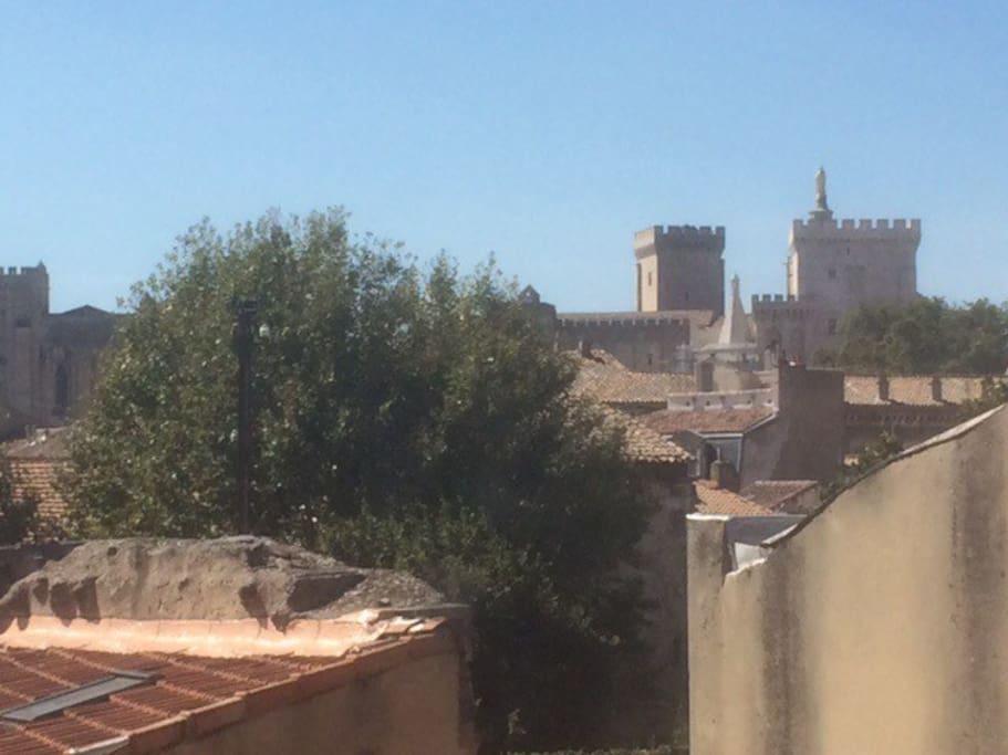 Vue sur le Palais des Papes depuis les fenêtres du salon