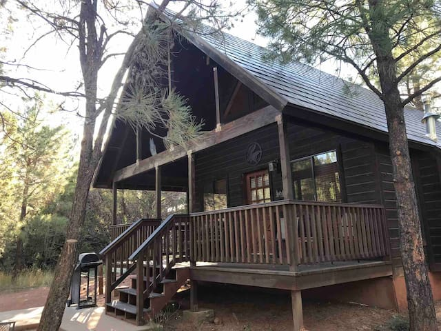 Moose Meadow cabin with hot tub in private area.