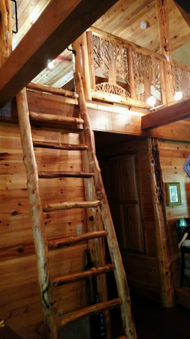 The ladder accesses the loft