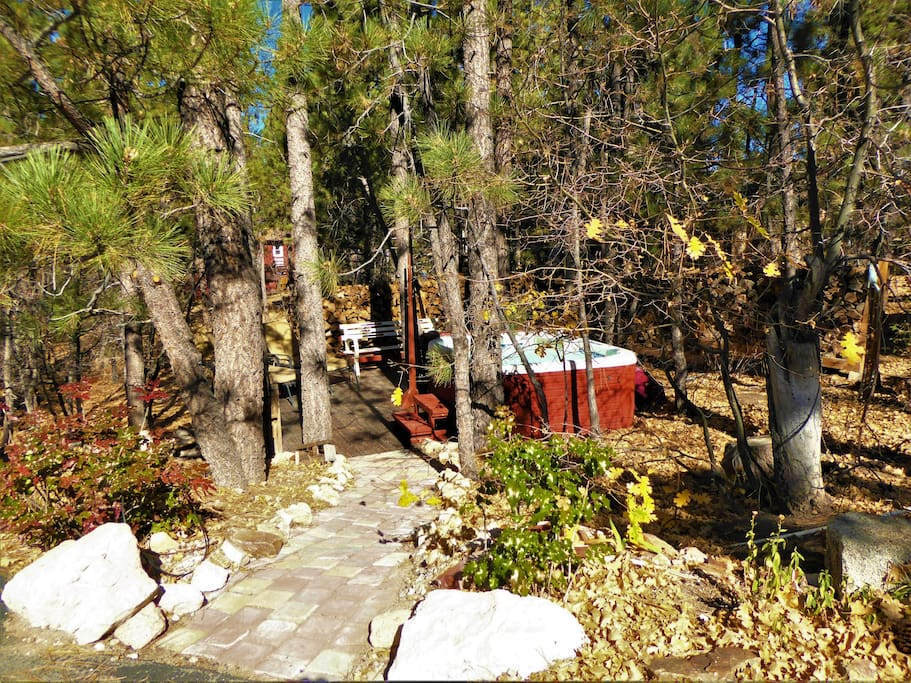Your stone pathway to your private outdoor spa setting...