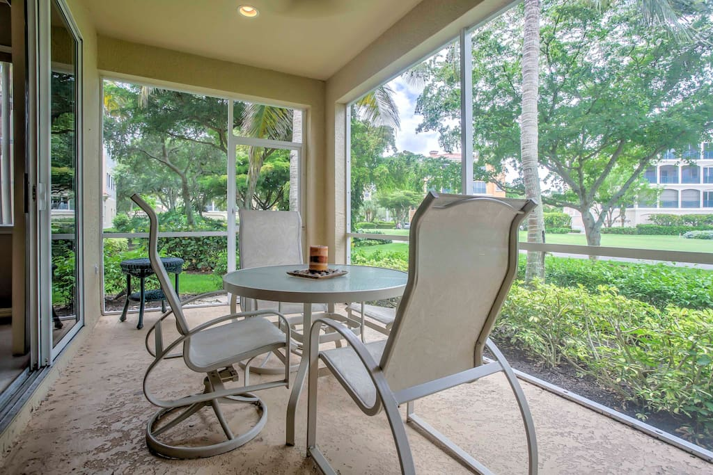 Enjoy a refreshing drink outside on the back patio that overlooks a golf course.