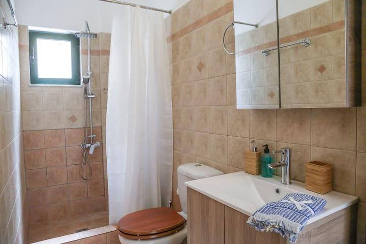 A walking shower bathroom and luxury amenities available for you.
