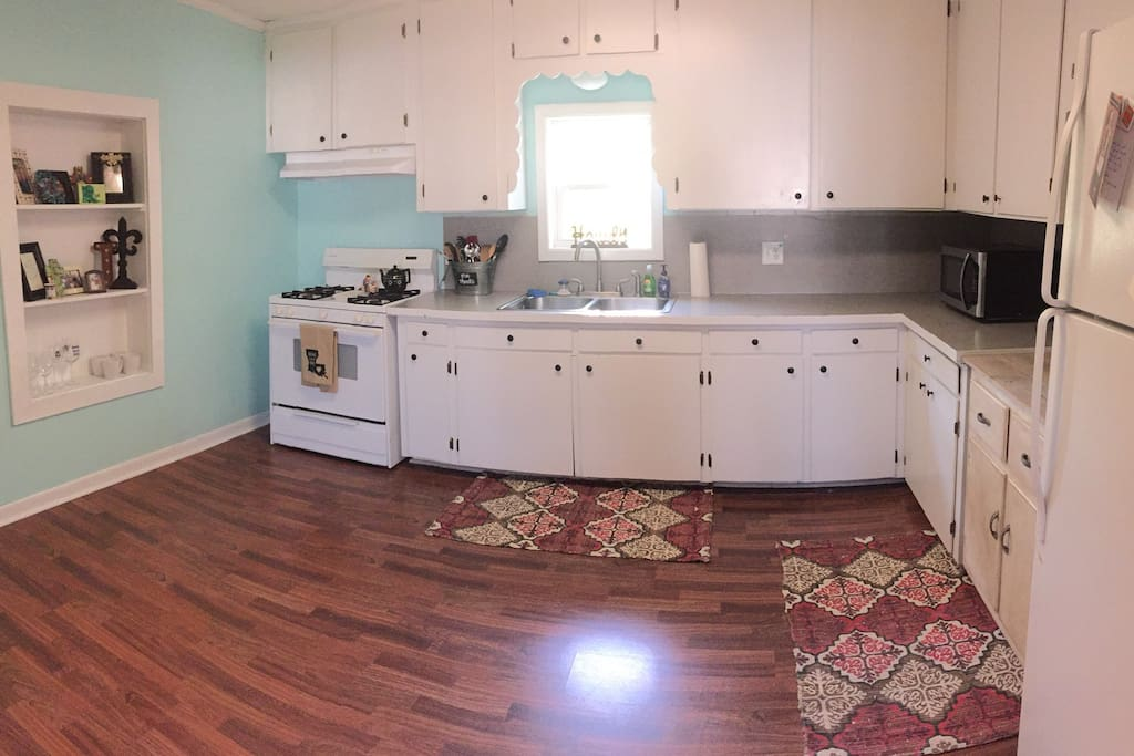 Spacious, bright kitchen offers room to prep and cook.